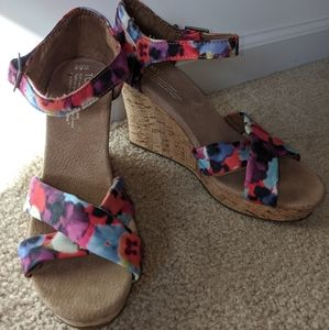 Toms Watercolor Cork Wedge Heel Sandals